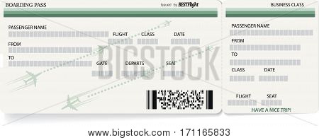 Light green vector template of boarding pass ticket. Concept of trip, journey or travel
