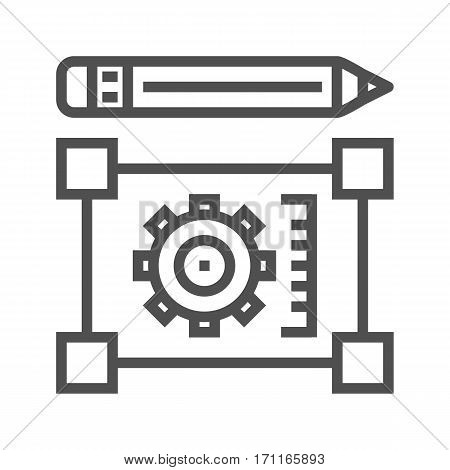Pensil with Blueprint Thin Line Vector Icon Isolated on the White Background.