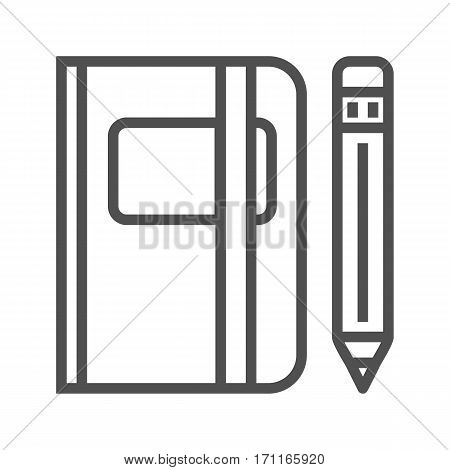 Sketchbook Thin Line Vector Icon Isolated on the White Background.