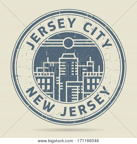 Grunge rubber stamp or label with text Jersey City New Jersey written inside vector illustration
