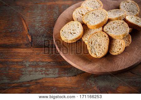 Heap Of Round Bruschette Rusks