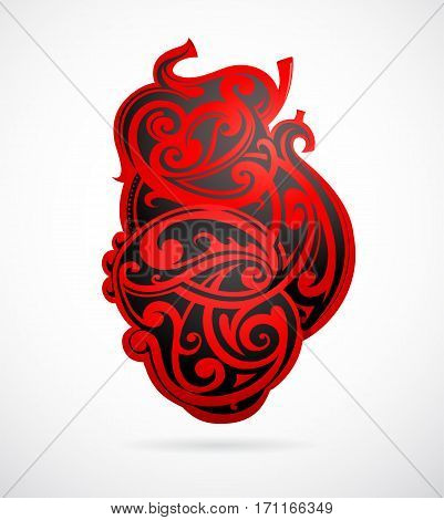Realistic heart shape as tribal tattoo design