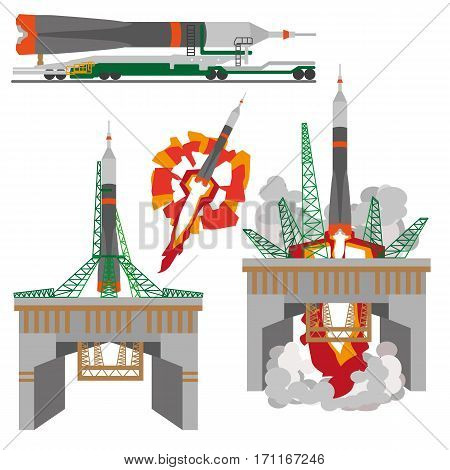 Space rocket launch on white background illustration