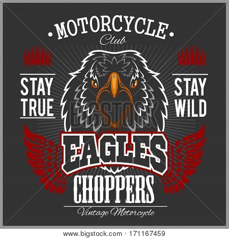 Eagle and Choppers - T-shirt print with motorcycle on dark background