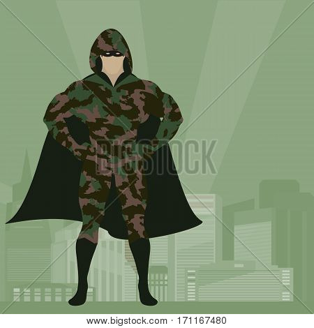 Hero in Camouflage uniform on city background
