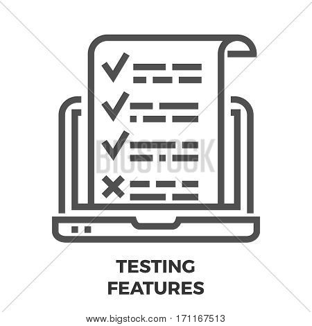 Testing Features Thin Line Vector Icon Isolated on the White Background.
