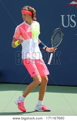 NEW YORK - AUGUST 27, 2016:Professional tennis player Alexander Zverev of Germany in action during his second round match US Open 2016 at Billie Jean King National Tennis Center in New York