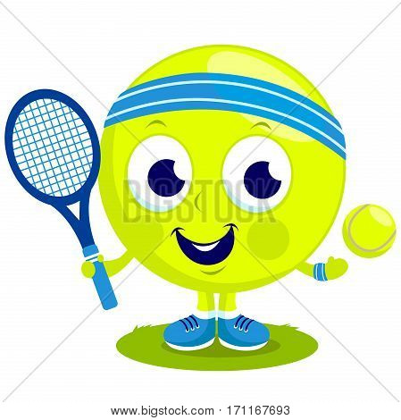 Vector cartoon tennis ball character playing tennis with racket and tennis ball.