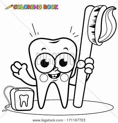 Black and white outline image of a smiling cartoon tooth character holding a toothbrush and dental floss. Coloring book page.