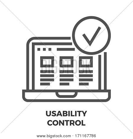 Usability Control Thin Line Vector Icon Isolated on the White Background.