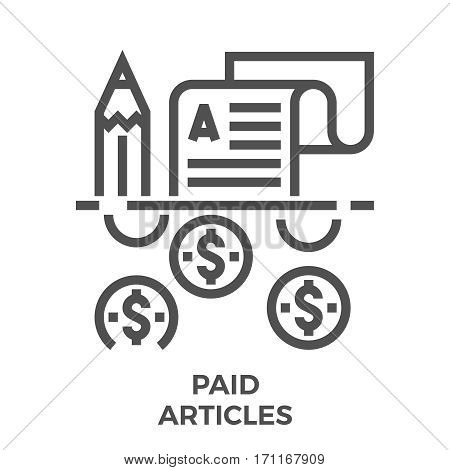 Paid Articles Thin Line Vector Icon Isolated on the White Background.