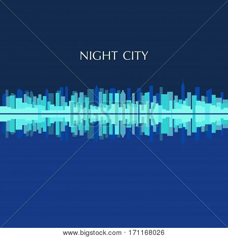 Vector color illustration of city skyline panorama at night
