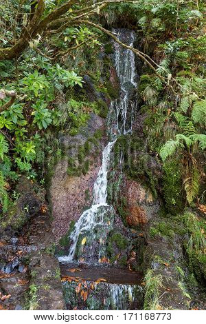 Last waterfall of the Twenty-five Fountains Levada hiking trail Madeira Portugal