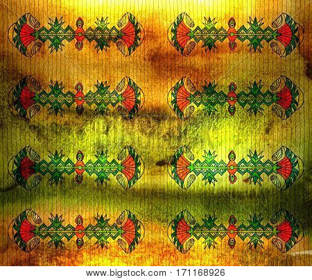 Ancient Egyptian linear symmetrical plant pattern. Light. Grunge background with stripes.