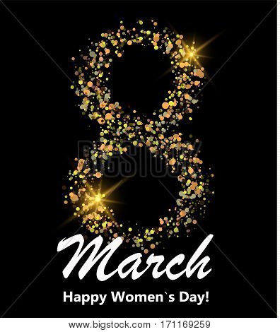 8 march postcard. Glitter digit eight made of many shiny dots on black background. Glowing International women`s day banner or poster or card. Vector illustration