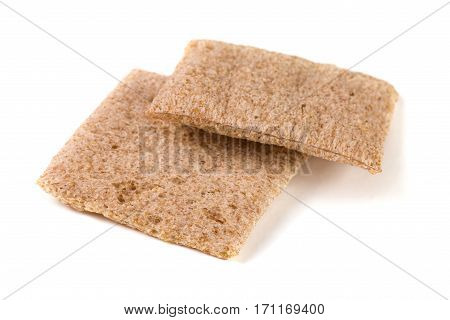 Two crisp bread isolated on white background.