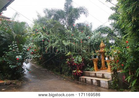 houses for spirits after the rain in Thailand