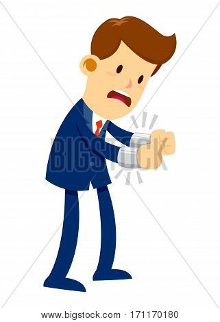 Vector stock of a businessman in suit get his hand handcuffed
