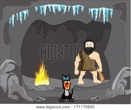 The Primitive person and dog in cave.Vector illustration