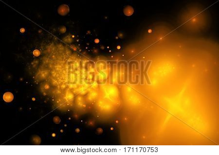 Golden Splash. Abstract Smoky Shapes And Sparkles On Black Background. Fractal Texture. 3D Rendering