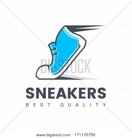 Speeding running sport shoe symbol, icon or logo. Vector illustration. Sneakers.
