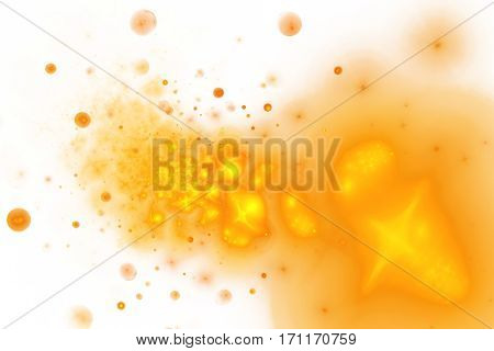 Golden Splash. Abstract Smoky Shapes And Drops On White Background. Fractal Texture. 3D Rendering.