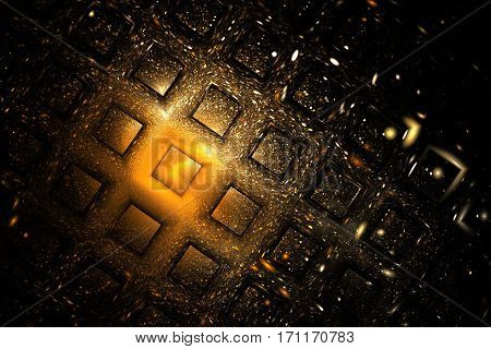 Abstract Geometric Texture With Golden Sparkles On Black Background. Fantasy Fractal Design. Digital