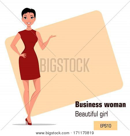 Young cartoon businesswoman with short hair wearing strict gray dress. Beautiful girl presenting business plan startup. Fashionable modern lady. Vector illustration. EPS10