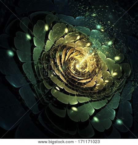 Abstract Rose Flower With Bright Sparks On Black Background. Fantasy Fractal Design In Golden And Gr