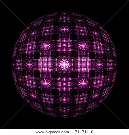 Abstract Ornamented Sphere On Black Background. Fantasy Fractal Design In Pink Colors. Psychedelic D