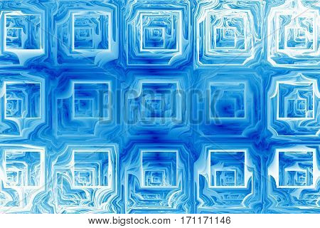Abstract Grunge Texture With Distorted Shapes. Fractal Background In Blue Colors. Digital Art. 3D Re