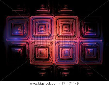 Abstract Grunge Texture. Fractal Background In Blue And Red Colors. Digital Art. 3D Rendering.