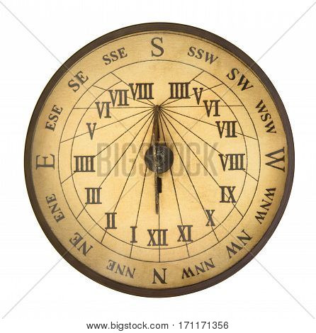 Old compass isolated on a white background