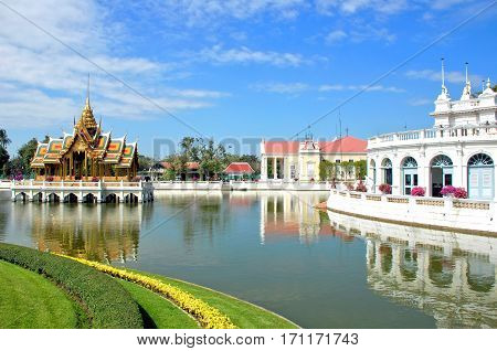 Thai Royal Residence at Bang Pa-In Royal Palace known as the Summer Palace. Located in Bang Pa-In district Ayutthaya Province THAILAND