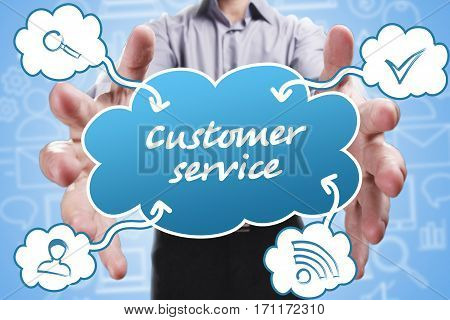 Business, Technology, Internet And Marketing. Young Businessman Thinking About: Customer Service