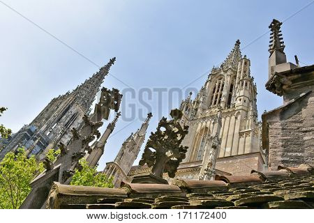 Stone masonry on Ulm Minster viewed from south tallest church in the world