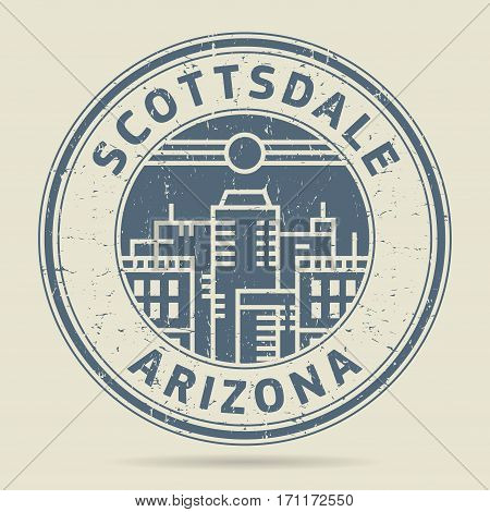 Grunge rubber stamp or label with text Scottsdale Arizona written inside vector illustration