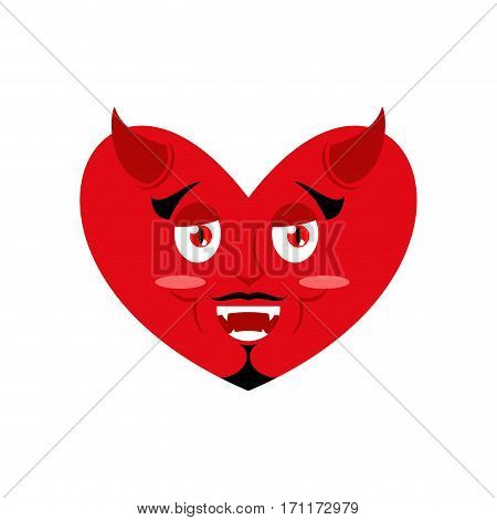 Heart Of Devil. Red Demon Love. Horns And Fangs