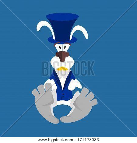 White Rabbit In Hat. Hare In Blue Vest. Alice In Wonderland