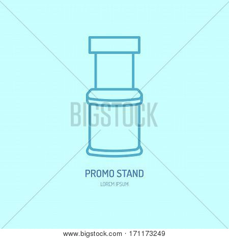 Promo stand vector line icon, promotion counter. Advertising trade sign.