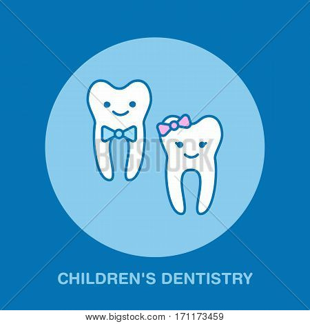 Children dentistry, orthodontics line icon. Dental care sign, smiling teeth. Health care thin linear symbol for dentist clinic.