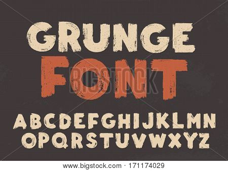 White grunge capital handwritten vector alphabet on black background. Drawn by semi-dry brush with unpainted areas.