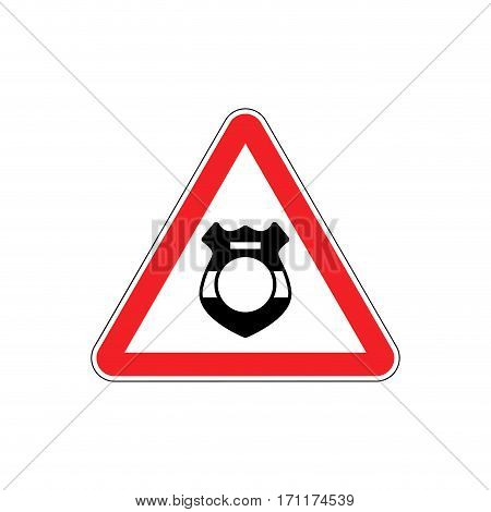 Warning Cop. Police Badge On Red Triangle. Road Sign Attention