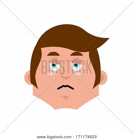 Guy Sad Emoji. Boy Sorrowful Emotion Isolated. Young Man Face