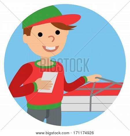 Pizza delivery man in uniform standing with box in his hands. Icone on white background.