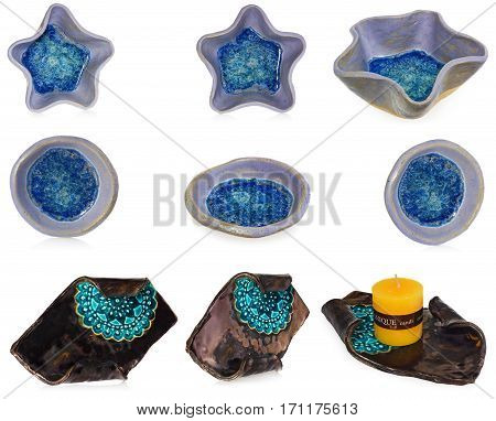 Composition of ceramic handmade objects: - candlestick with blue decorative pattern and yellow candle in the color brown, blue, yellow, - blue, bowl in the shape of stars and circles. At the bottom of the bowl melted, broken glass with bubbles of air,  Di