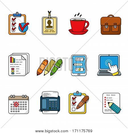 Business icons set. Color outlined icon collection. Tablet, laptop, smartphone, fax, badge, documents, coffee cup, graphics, pen, pencil, marker, messages, case. Vector illustration.