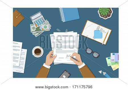 Businessman signing a document. Man hands with pen and contract. The process of business financial agreement. Document with a signature. Desk with money purse notebook. Vector illustration top view