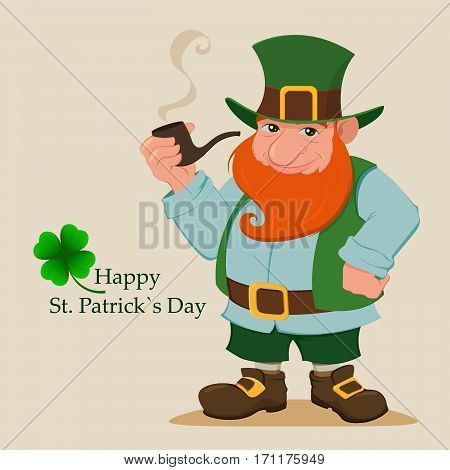 Cartoon happy leprechaun. Character with green hat red beard smoking pipe and four leaf clover. Vector modern illustration on Saint Patrick's Day.