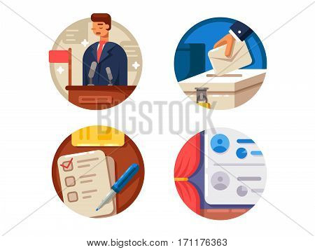 Voting set icons. Selection of candidates and put tick on ballot. Vector illustration. Pixel perfect icons size - 128 px